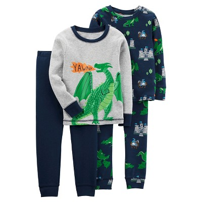 Boys' 4pc Long Sleeve Cotton PJ Heather 12M - Just One You™Made by Carter's®