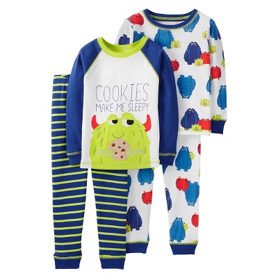 Boys' 4pc Long Sleeve Cotton PJ Ivory/Blue 9M - Just One You™Made by Carter's®