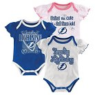 Tampa Bay Lightning Girls' Infant/Toddler 3 Pk Body Suit 0-3 M