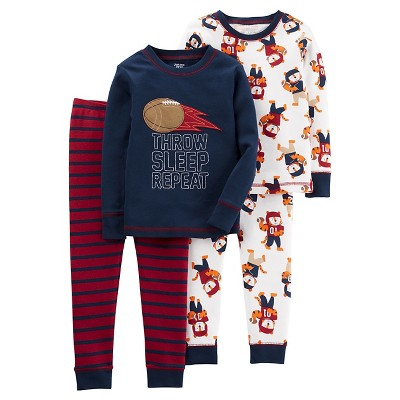 Boys' 4pc Long Sleeve Cotton PJ Navy/Burgundy 12M - Just One You™Made by Carter's®