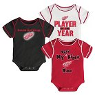 Detroit Red Wings Boys' Infant/Toddler 3 pk Body Suit 0-3 M