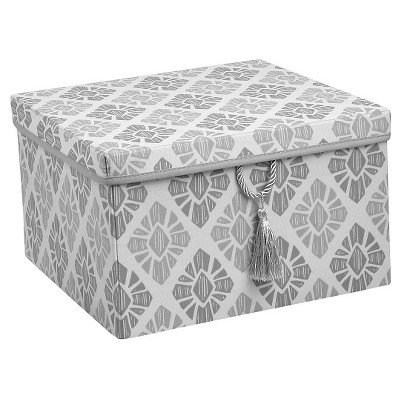 Xhilaration™150D Poplin Lidded Box with Tassel - Grey