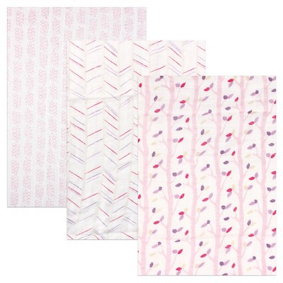 Hudson Baby Rayon from Bamboo Muslin Swaddle Blanket 3pk - Pink Birch