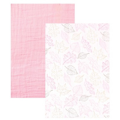 Touched by Nature Organic Muslin Swaddle Blanket 2pk - Pink Leaves
