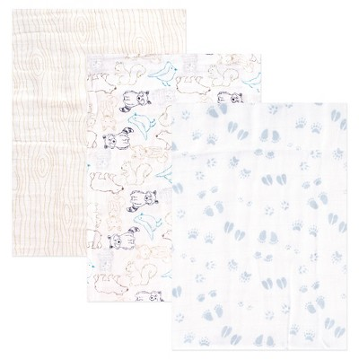 Touched by Nature Organic Muslin Swaddle Blanket 3pk - Blue Woodland