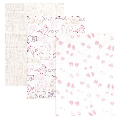 Touched by Nature Organic Muslin Swaddle Blanket 3pk - Pink Woodland