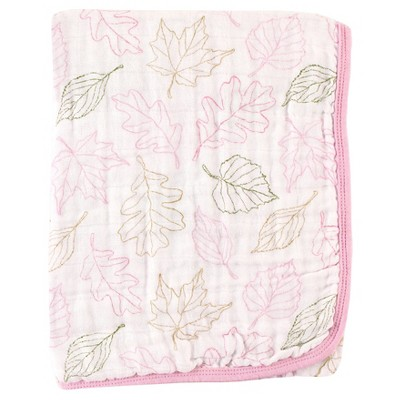 Touched by Nature Organic Muslin Stroller Blanket 2 layers - Pink Leaves