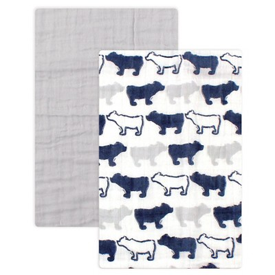 Yoga Sprout Muslin Swaddle Blanket 2pk - Blue Bear