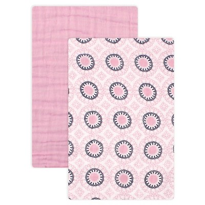 Yoga Sprout Muslin Swaddle Blanket 2pk - Pink Ornamental