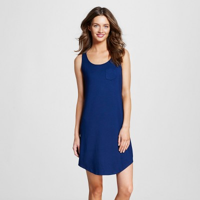 Women's Pajama Fluid Knit Tank Gown with Built-In Support Nighttime Blue L - Gilligan & O'Malley™
