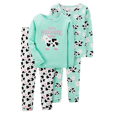 Girls' 4pc Long Sleeve Cotton PJ Mint 9M - Just One You™Made by Carter's®