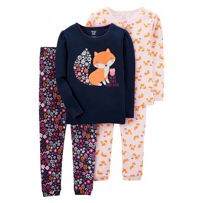 Girls' 4pc Long Sleeve Cotton PJ Navy/Pink 12M - Just One You™Made by Carter's®