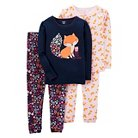 Girls' 4pc Long Sleeve Cotton PJ Navy/Pink  - Just One You™Made by Carter's®