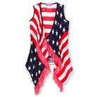 Say What? Girl's Americana Vest - Red/White/Blue