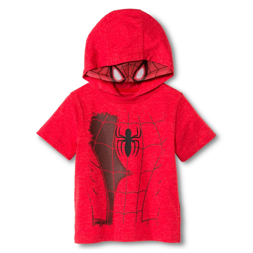Toddler Boys' Spiderman Hooded Costume Tee - Red 4T, Toddler Boy's