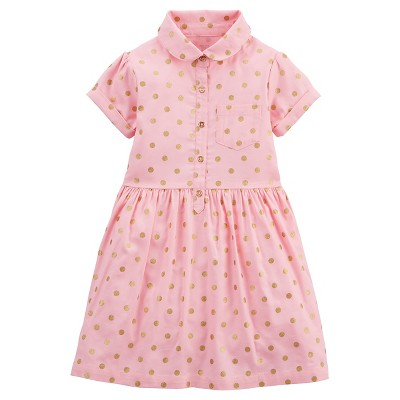Just One You™Made by Carter's® Girls' Short-sleeve Gold Dot Dress - Grey 6