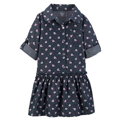 Toddler Girls' Long-Sleeve Chambray Print Dress Navy 12M - Just One You ™ Made by Carter's ®