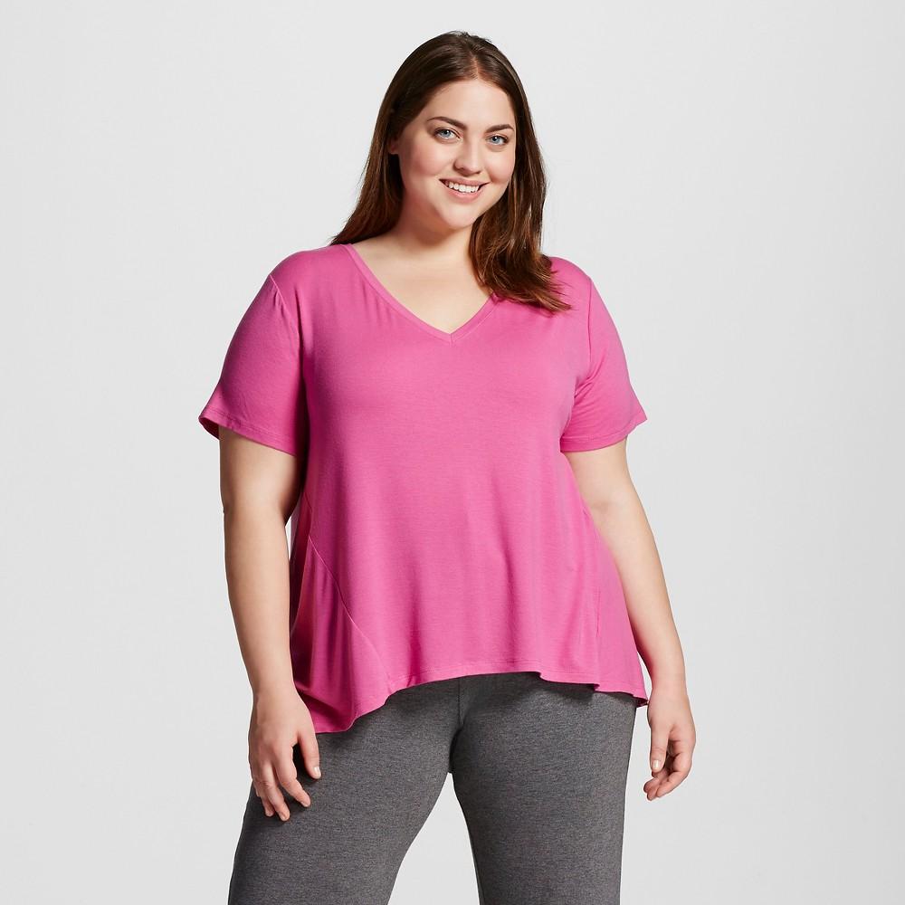 Women's Plus Size Pajama Fluid Knit Tee Print Pomegranate Pink   Size: 2XL plus size,  plus size fashion plus size appare