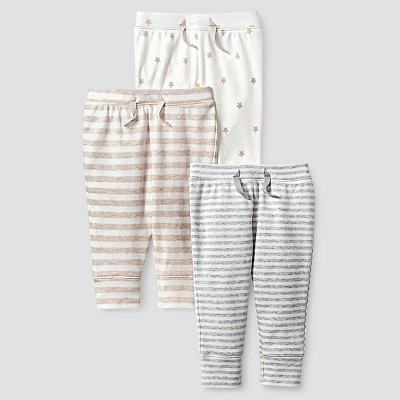 Baby Organic 3 Pack Pant Set Baby Cat & Jack™ - White/Heather Grey NB