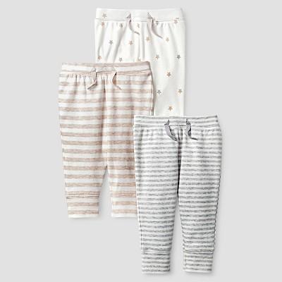 Baby Organic 3 Pack Pant Set Baby Cat & Jack™ - White/Heather Grey 6-9M