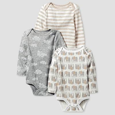 Baby Girls' Organic 3 Pack Bodysuit Set Baby Cat & Jack™ - White/Heather Grey 6-9M