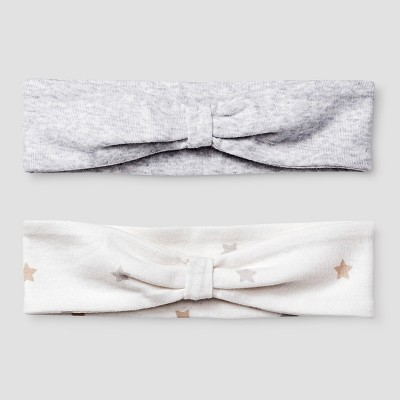 Baby Girls' 2 Pack Organic Headbands Baby Cat & Jack™ - White/Heather Grey