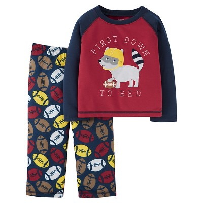 Boys' 2pc Long Sleeve Poly PJ Burgundy/Navy 12M - Just One You™Made by Carter's®