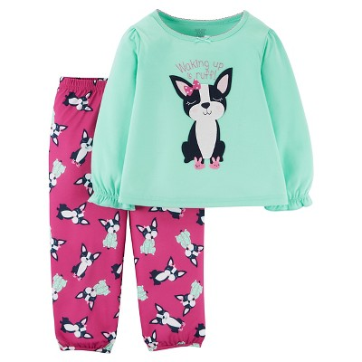 Girls' 2pc Long Sleeve Poly PJ Mint/Pink 18M - Just One You™Made by Carter's®