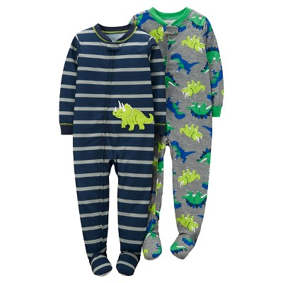 Baby Boys' 2 Pack Dinosaur Stripe Poly Footed Sleeper Set Navy/Grey 12M - Just One You™Made by Carter's®