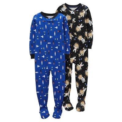 Baby Boys' 2 Pack Space Money Cotton Footed Sleeper Set Black/Blue 12M - Just One You™Made by Carter's®