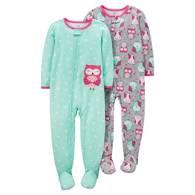 Baby Girls' 2 Pack Owls Poly Footed Sleeper Set Mink/Grey 9M - Just One You™Made by Carter's®