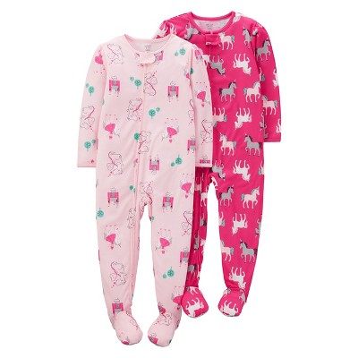 Baby Girls' 2 Pack Unicorns Poly Footed Sleeper Sets Pink 9M - Just One You™Made by Carter's®