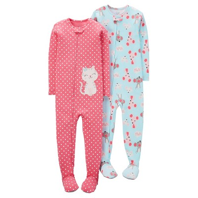 Baby Girls' 2 Pack Kitten Dots Mice Footed Sleeper Set Pink/Blue 12M - Just One You™Made by Carter's®