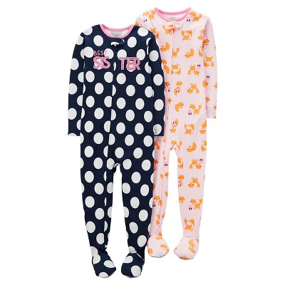 Baby Girls' 2 Pack Best Sister Polka Dot Footed Sleeper Set Navy/White/Pink 9M - Just One You™Made by Carter's®