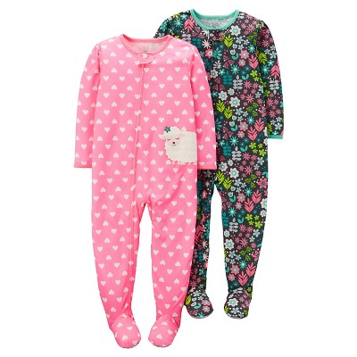 Baby Girls' 2 Pack Floral Sheep Footed Sleeper Set Pink 9M - Just One You™Made by Carter's®