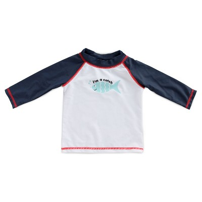 Imn Swimwear Tops Child Male Rash Guards Fish Nightfall Blue 6-9 M