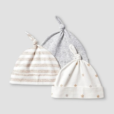 Baby Girls' 2 Pack Organic Hats Baby Cat & Jack™ - White/Heather Grey