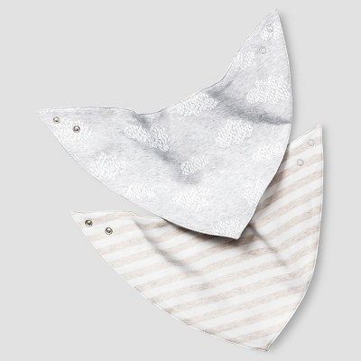 Baby 2 Pack Organic Bandana Bibs Baby Cat & Jack™ - White/Heather Grey