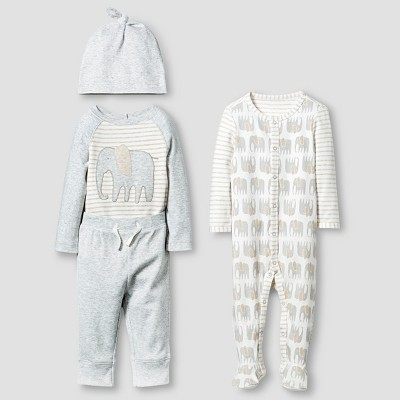 Baby Organic 4 Piece Layette Set Baby Cat & Jack™ - White/Heather Grey 0-3M