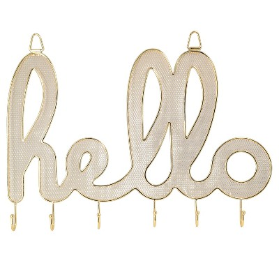 Xhilaration™ 1Pc Metal HELLO Hanging Jewelry Organizer - Gold Finish