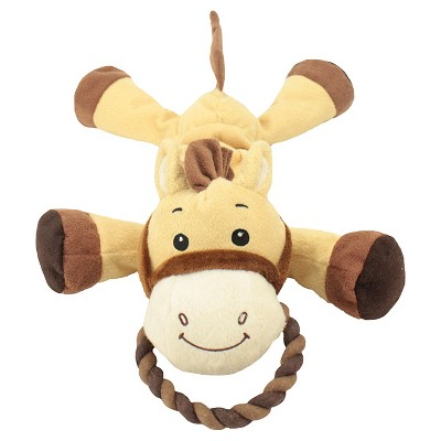 Plush Brown Horse Dog Toy with Bungee, Squeaker and Rope halter Large - Boots & Barkley™