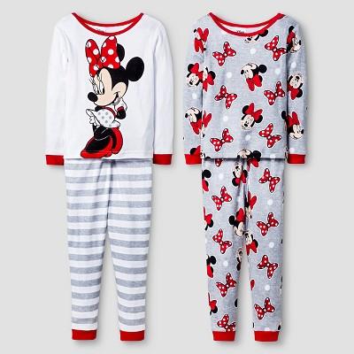 Disney® Girls' 4 Piece Minnie Mouse Pajama Set - White 12M