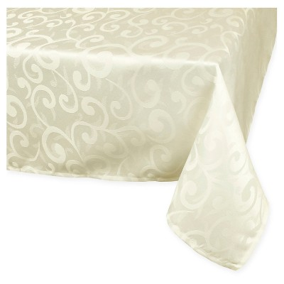 "Polyester Damask Tablecloth - 70"" Round - Cream"