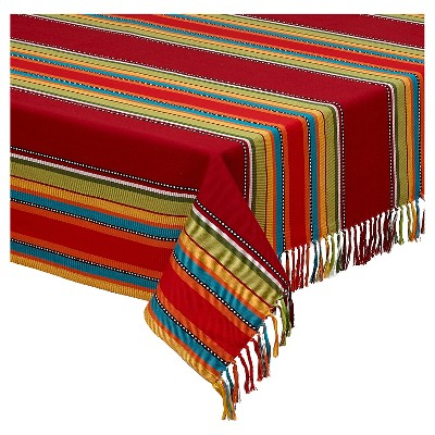 """Caliente Stipe Fringed Tablecloth - 52 X 52"""""""