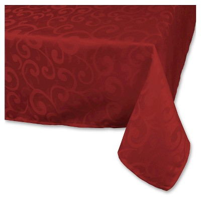 """Polyester Damask Tablecloth - 60 X 84"""" - Wine"""