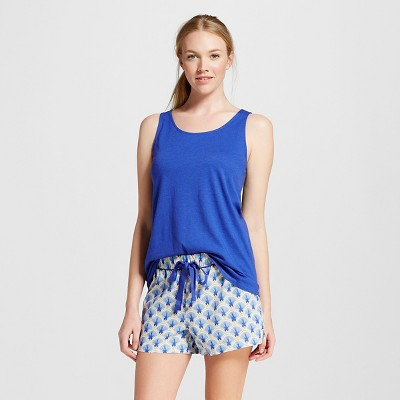 Women's Pajama Tank Shorts Set Blue Fan Print L - Gilligan & O'Malley™