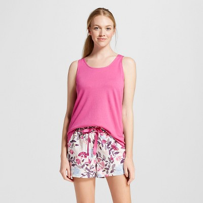 Women's Pajama Tank Shorts Set Pink Multi-Colored L - Gilligan & O'Malley™