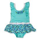 Toddler Girls' Penny M Floral Skirted One-Piece Swimsuit Turquoise Blue 2T