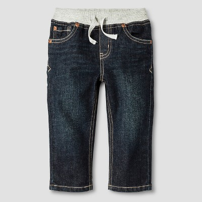 Baby Boys' Rib-Waist Straight Fit Jeans Baby Cat & Jack™ - Dark Wash 18 M
