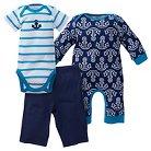 Gerber® Baby Boys' 3pc Anchor Coverall Set Blue 3-6M